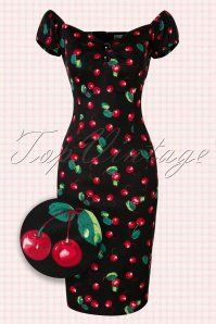 98bde7cb23d Collectif Clothing ~ 50s Dolores Cherry Dress in Black