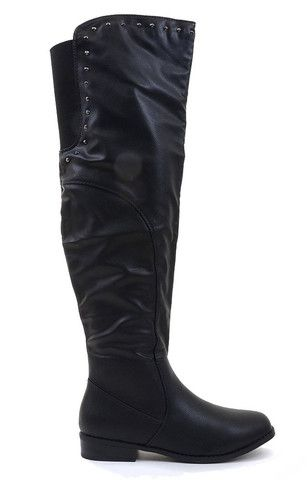0f7bfa5c9cc9 Studded Over the Knee Slouchy Round Toe Riding Vegan Boot | Boots ...