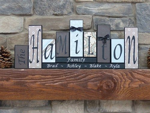 Family Name Block Letters Home Decor Custom Wood Sign Routed Edge