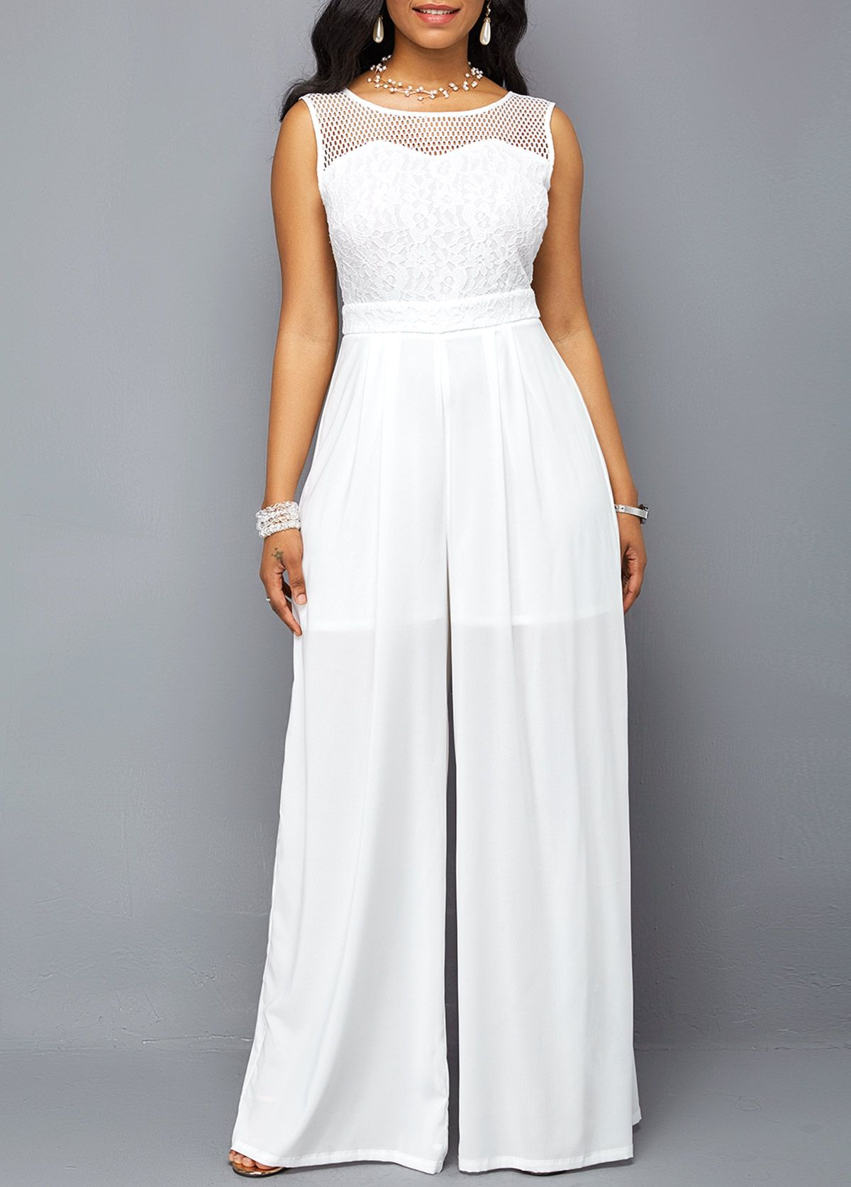 69422224fd1a Round Neck Lace Patchwork Sleeveless White Jumpsuit