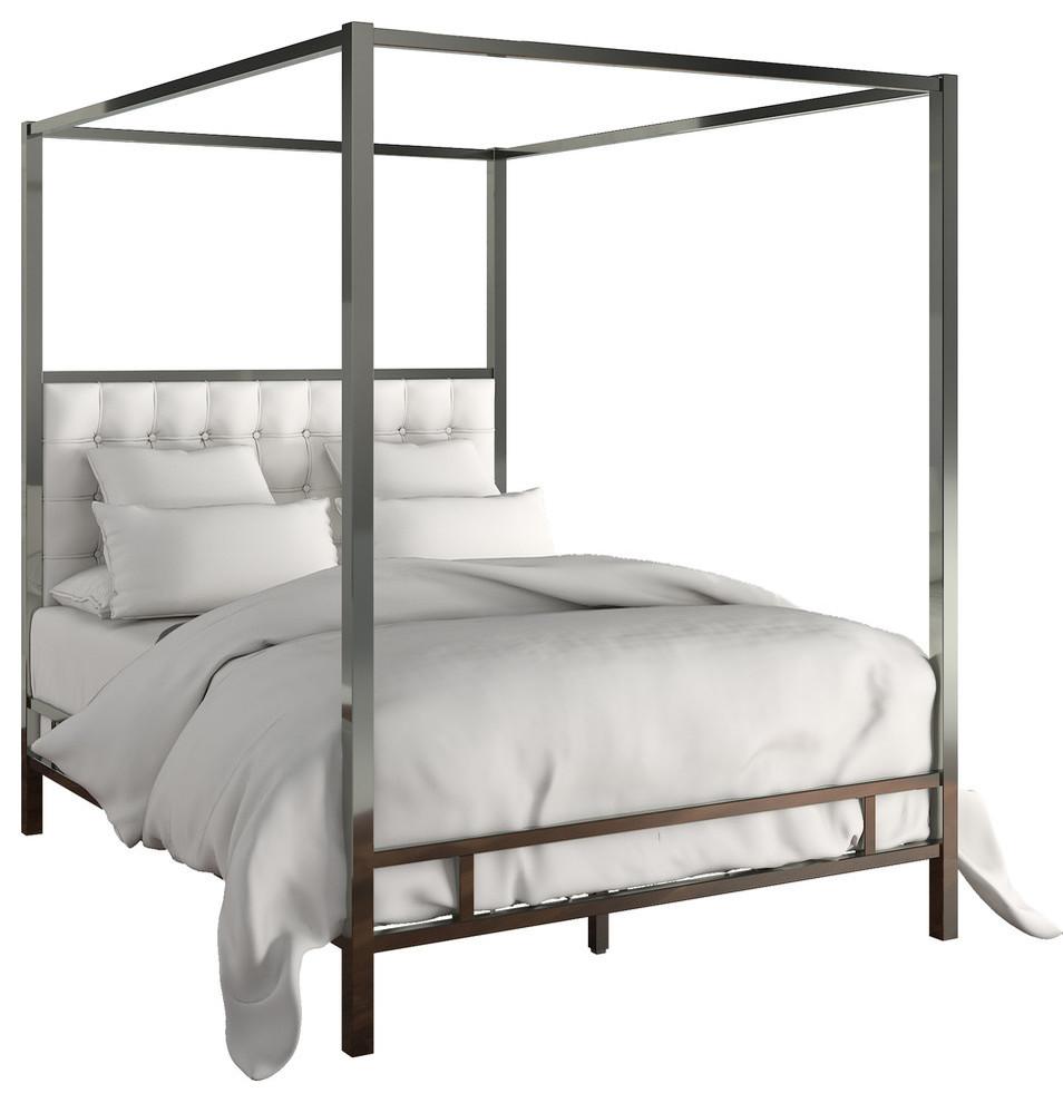 Best Safira Modern Metal Canopy Bed In Black Nickel 640 x 480