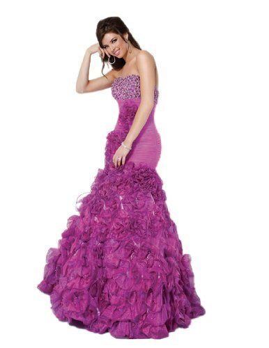 Jovani Long Mermaid Dress 71441: Look like a celebrity in Jovani style 71441. This strapless dress has a beaded bust and a ruched drop waist with ruffles cascading down. The mermaid skirt is over the top with two tone ruffles. This spectacular dress would be great for a sweet sixteen, black tie ball or prom. [List Price:$500.00 - Sale Price:$399.00 - You Save:$101.00 (20%) ]