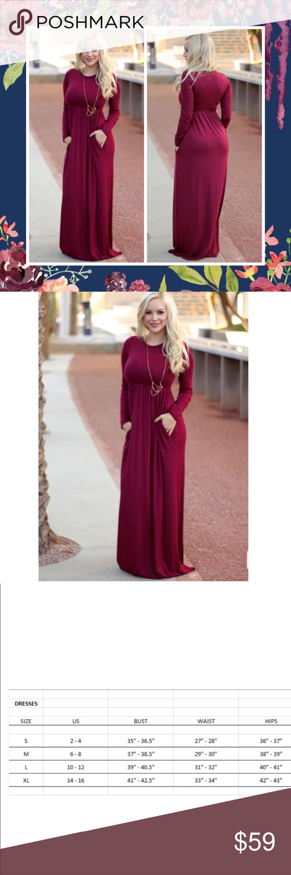 Camille burgundy maxi dress long sleeve pockets boutique my posh