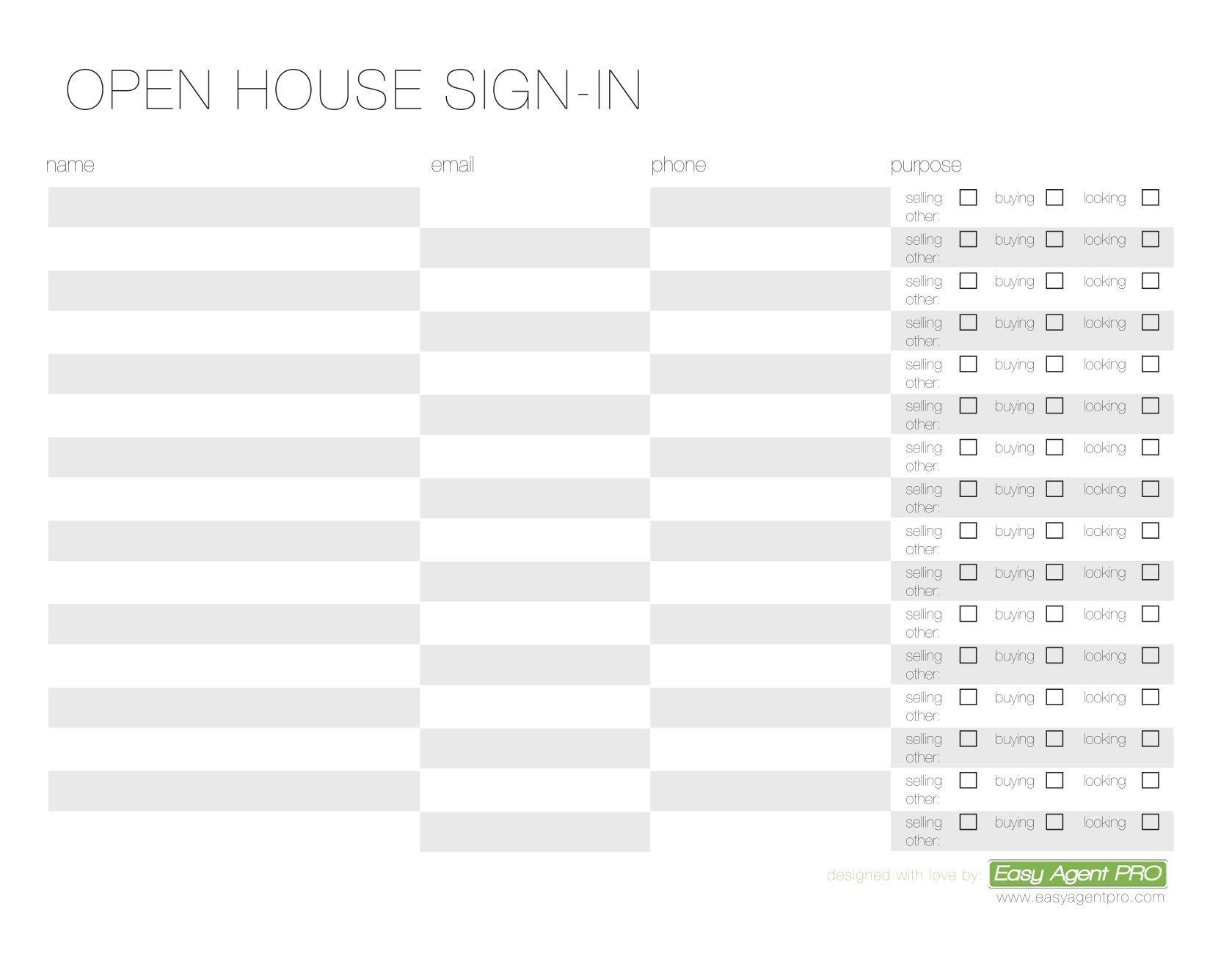 Open House Sign In Sheet Printable Templates Free Ready For Use - Template for selling a house