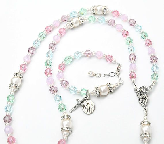 64df467195307a Baptism Gift for Girl - Beautiful Swarovski Crystal Baptism Rosary ...