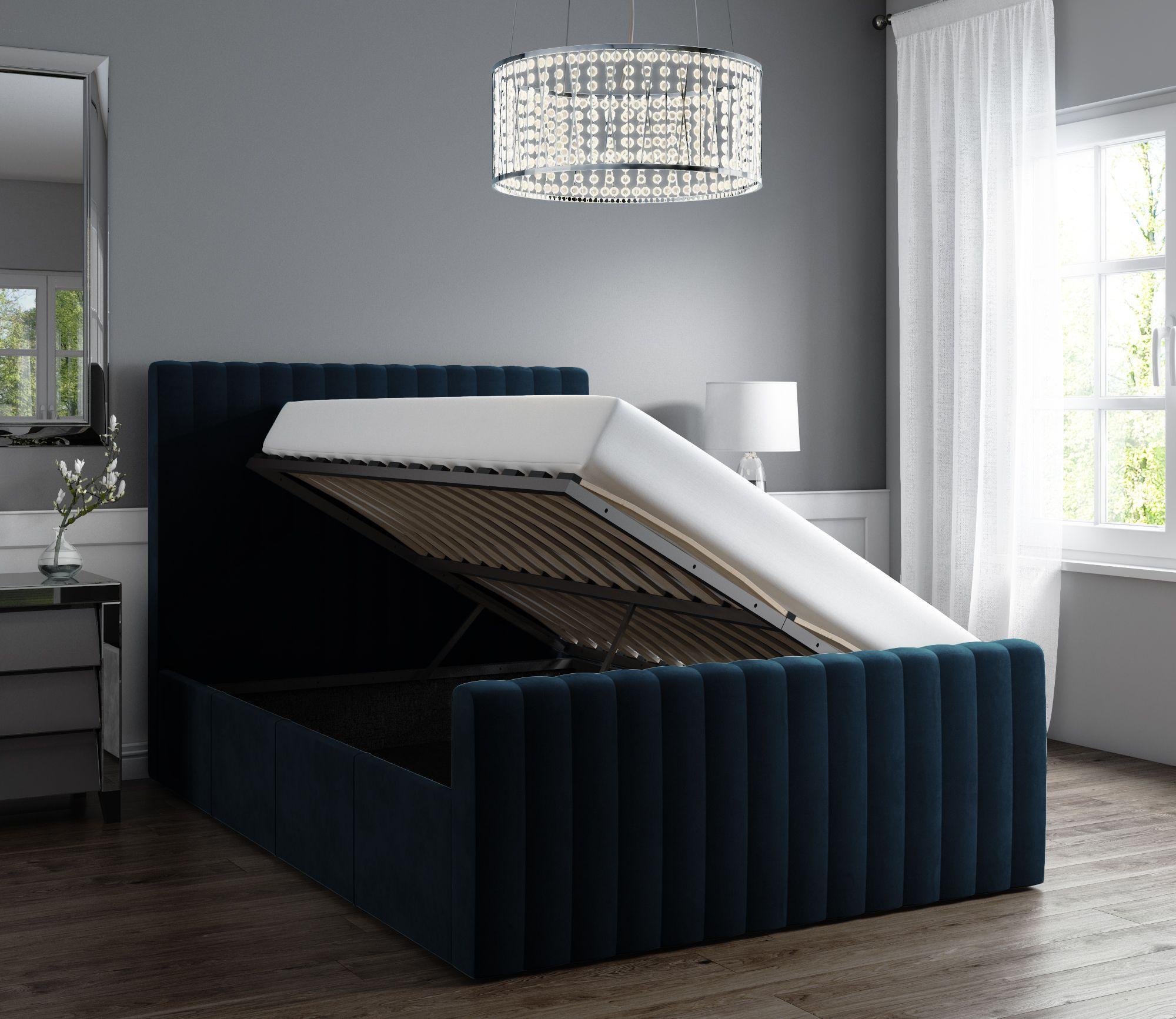 Surprising Khloe Double Side Ottoman Bed In Navy Blue Velvet Khl001 Creativecarmelina Interior Chair Design Creativecarmelinacom