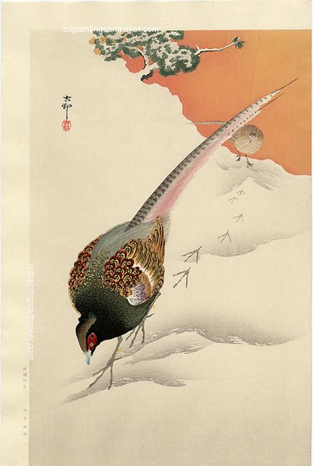 A Pair of Pheasants in the Snow, by Ohara Koson