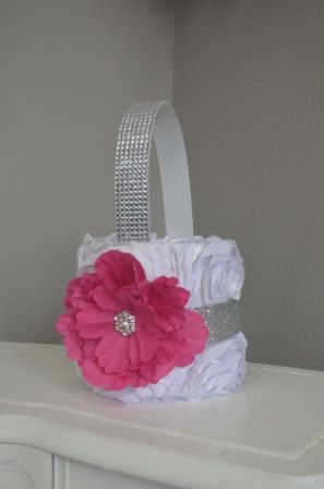 Hot pink and white bling flower girl basket by foreverlovenotes hot pink and white bling flower girl basket by foreverlovenotes 3500 mightylinksfo