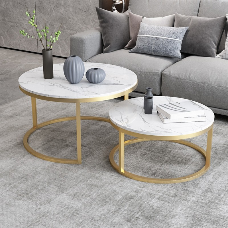 Nordic Style Coffee Table Gold Metal White Marble Living Room Accent Table With Round Top Set Of 2 In 2020 Table Decor Living Room Living Room Accent Tables Gold Living Room #white #marble #living #room #table