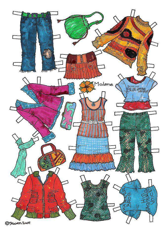Karen`s Paper Dolls: Malene 1-6 Paper Doll in Colours. Påklædningsdukke Malene 1-6 i farver.
