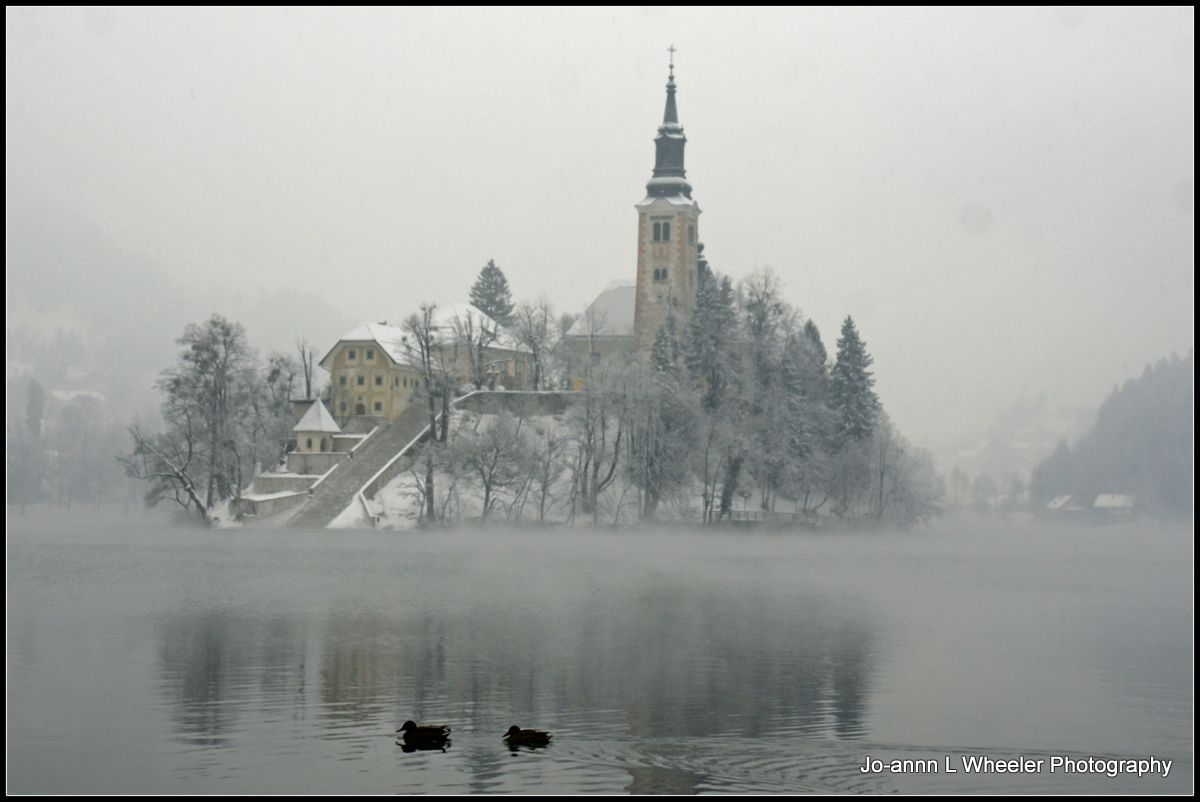 Lake Bled in snow, Slovenia.