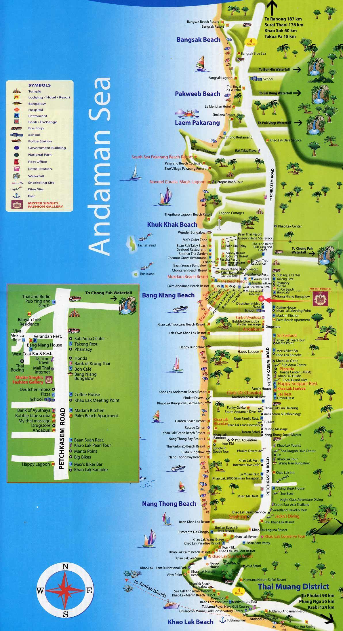 Пляжи Као Лак на карте Thailand urlaub, Thailand reisen