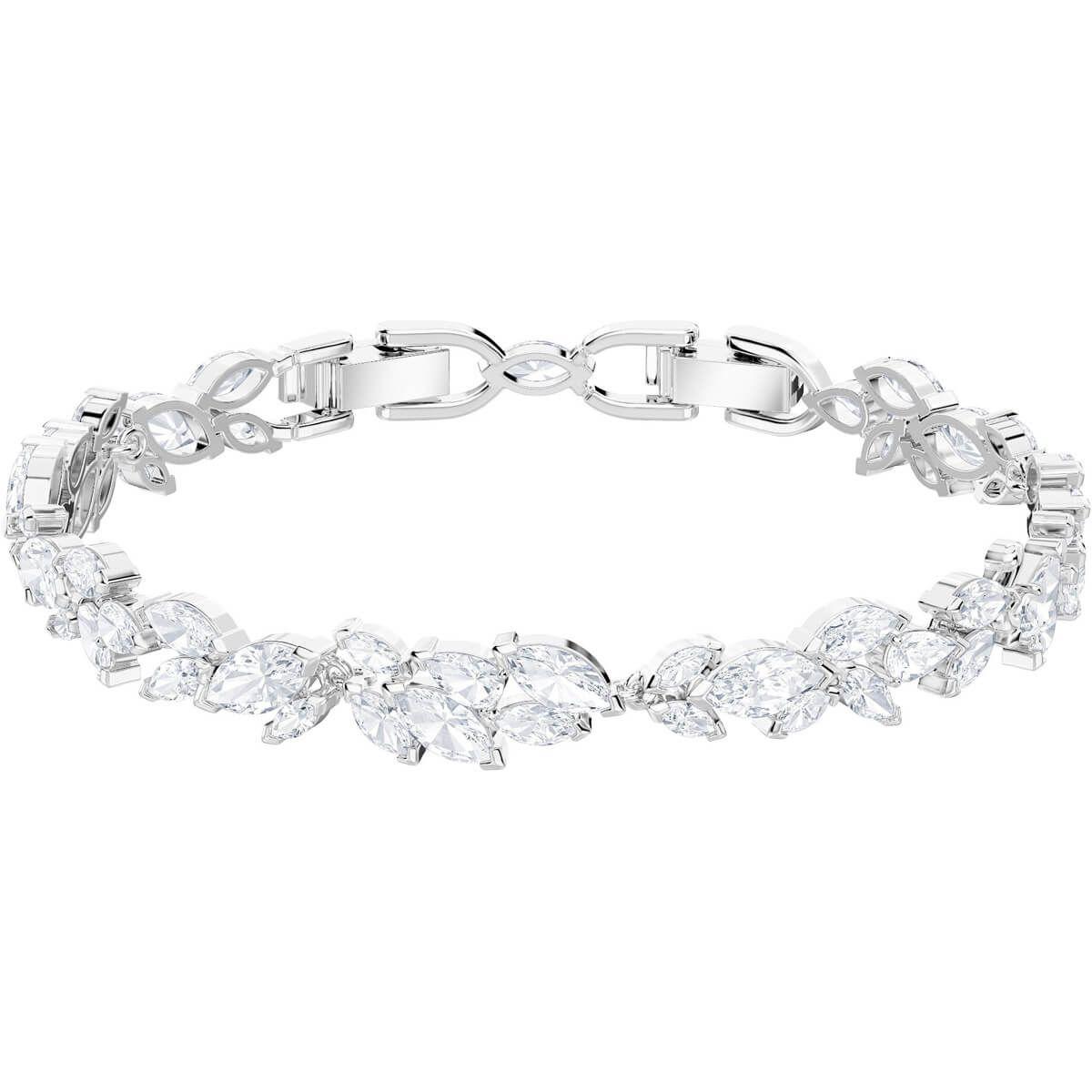 Louison Bracelet White Rhodium Plated Swarovski Bracelet Crystal Necklace Pendant Swarovski Jewelry