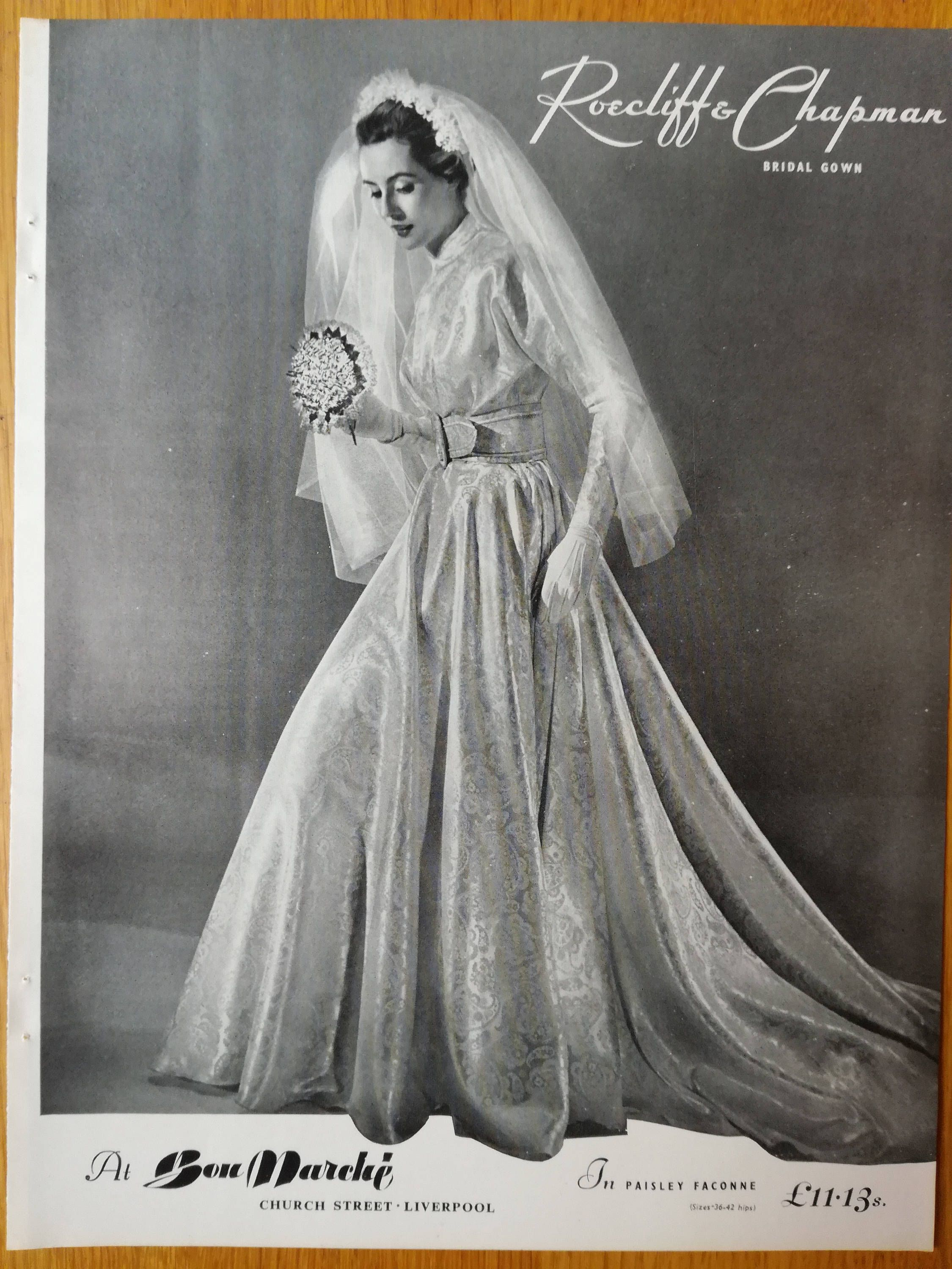1950s Fashion Wedding Vogue Ad 50s Vogue Advert Wedding Dress