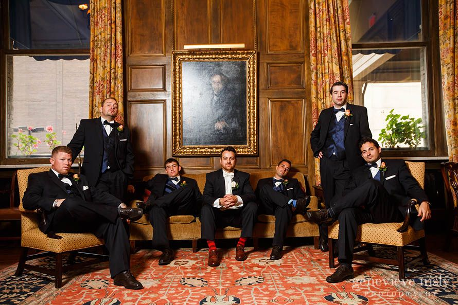 Dapper portrait of the groom and his men at the Union Club in