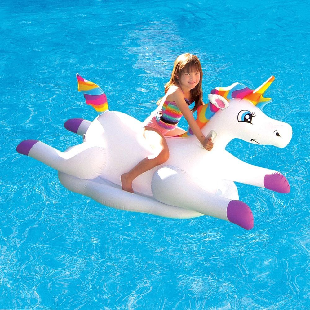 Inflatable Ride On Pool Float Unicorn Swimming Raft Toy Kids Play Lounger Lake White Unicorn