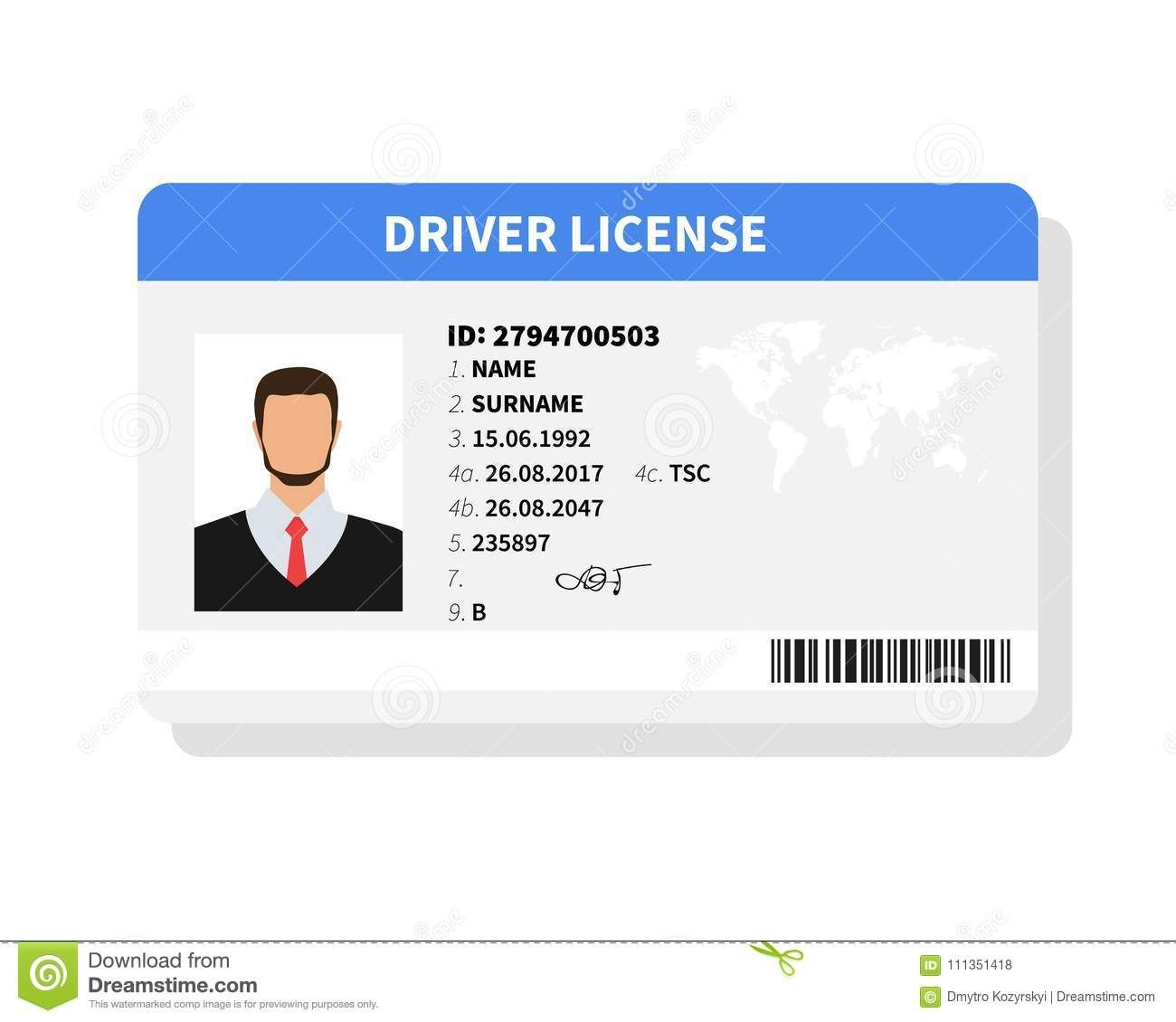 Flat Man Driver License Plastic Card Template Inside Personal Identification Card Templ Id Card Template Father S Day Card Template Business Card Template Word