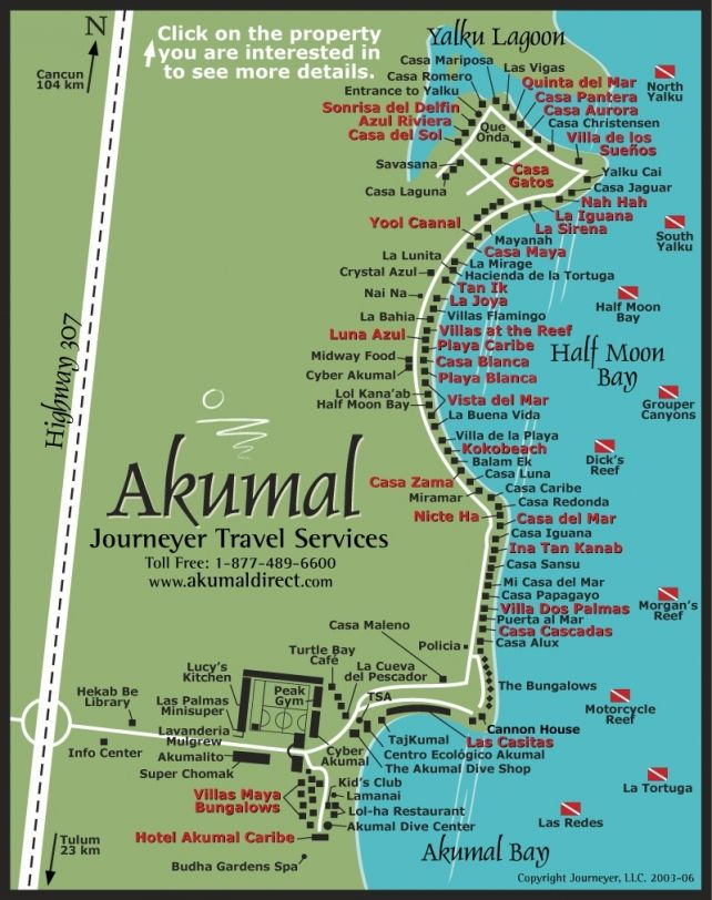 Akumal and Half Moon Bay Map | Akumal Direct Reservations | Mexico ...