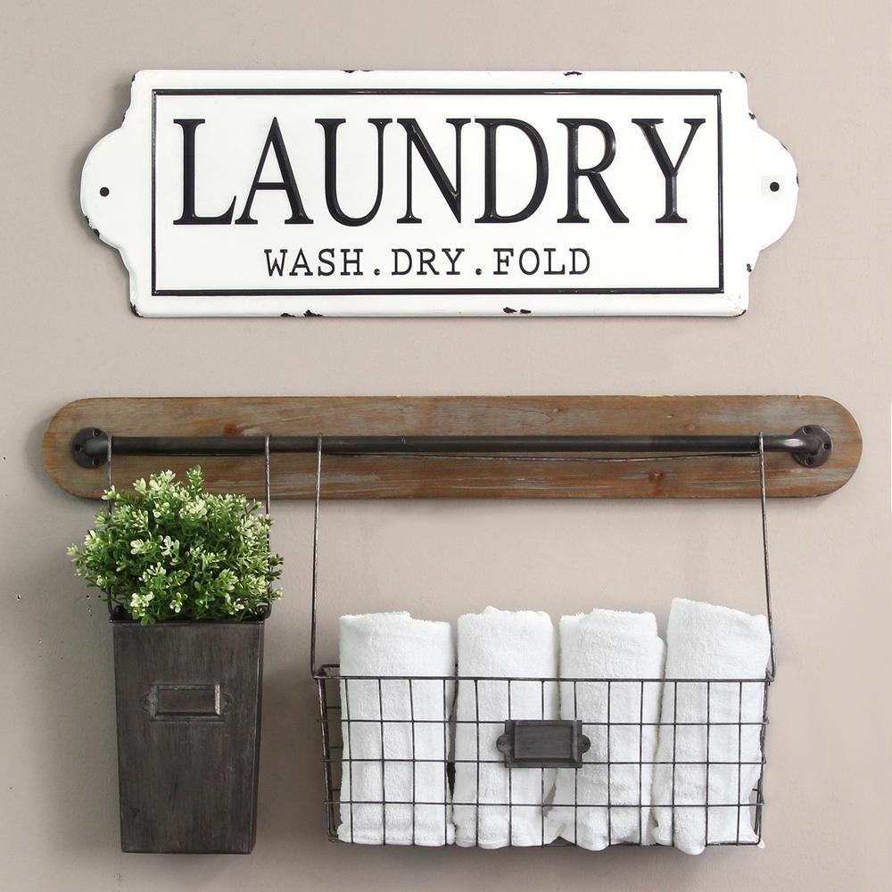 Stratton Home Decor Metal Laundry Wall Decor Black White In 2019 Products Home Decor Retro Home Decor Decor