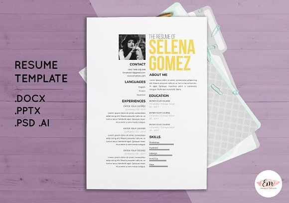 Create 1 page resume template by Emaholic Template on