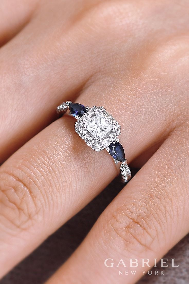14k White Gold Princess Cut Halo engagement ring. Wear sapphire ...