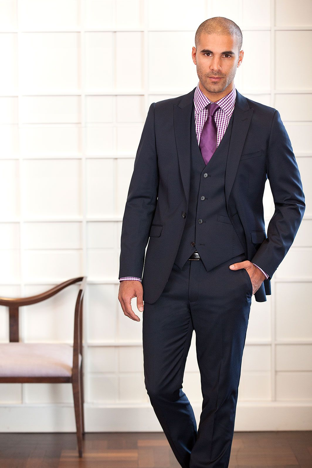 Navy Three Piece Suit Ideas for the Groom // Wedding Suits ...