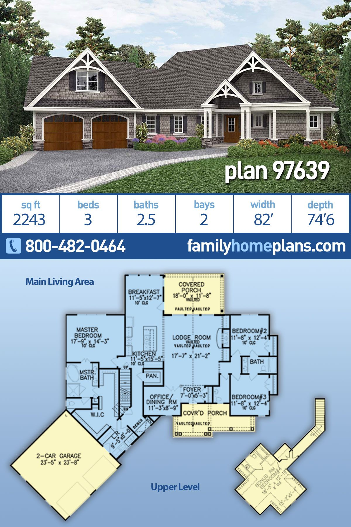 Craftsman Style Ranch Homes : craftsman, style, ranch, homes, Ranch, Style, House, 97639, Bath,, Garage, Plans,, Craftsman, Plans