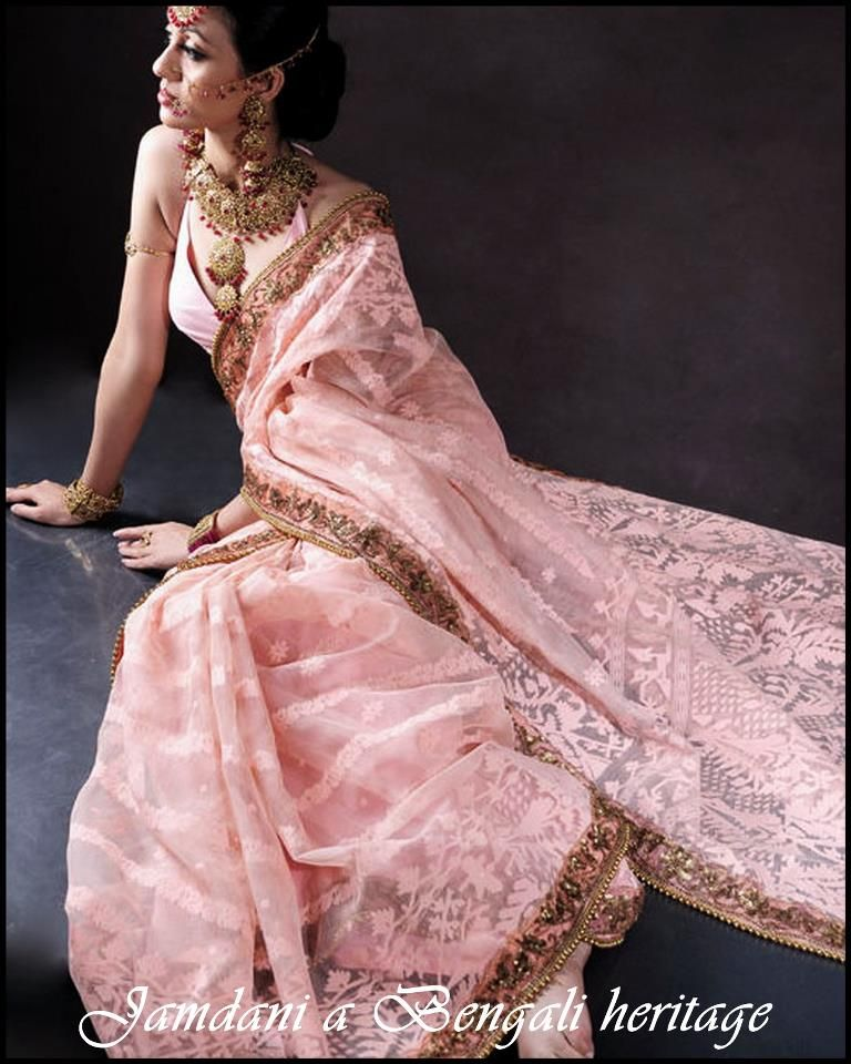 Lovely pink Dhakai Jamdani Saree with zari border. | Jewelry ...