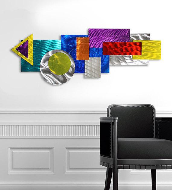 In House Fleurs color/ées en Cadre D/écoration Murale en m/étal /à Suspendre Grande Sculpture Murale Art