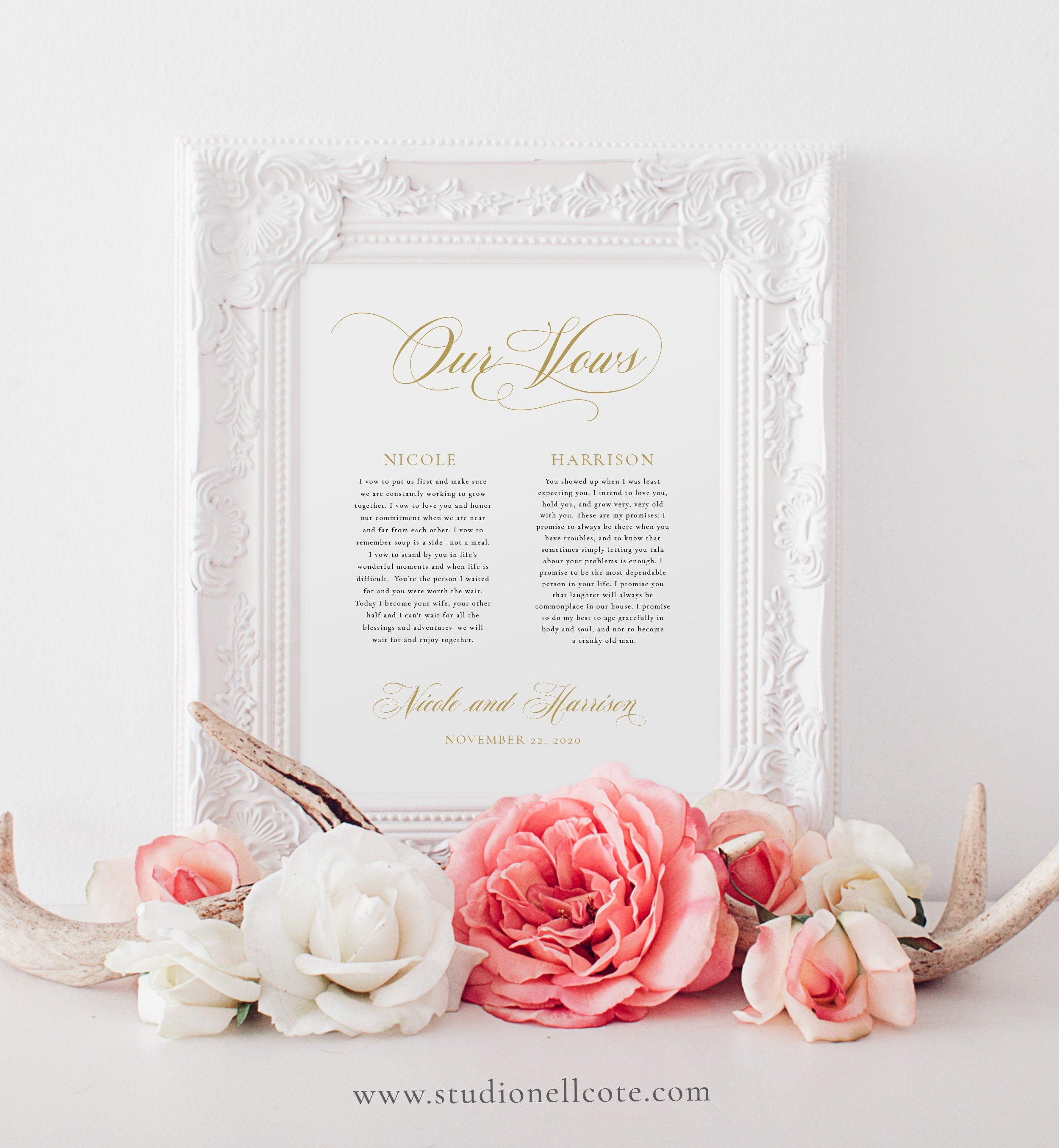 Gold Printable Wedding Vows1st Year Anniversary Gift