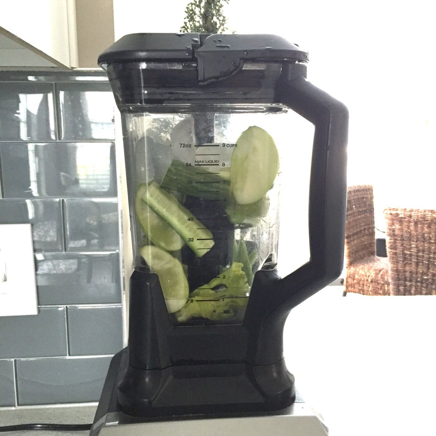 Green Juice  2 Organic Green Apples  2 Organic Celery Stalks  1 Organic Cucumber  1 Organic Lemon  Just blend and drink!