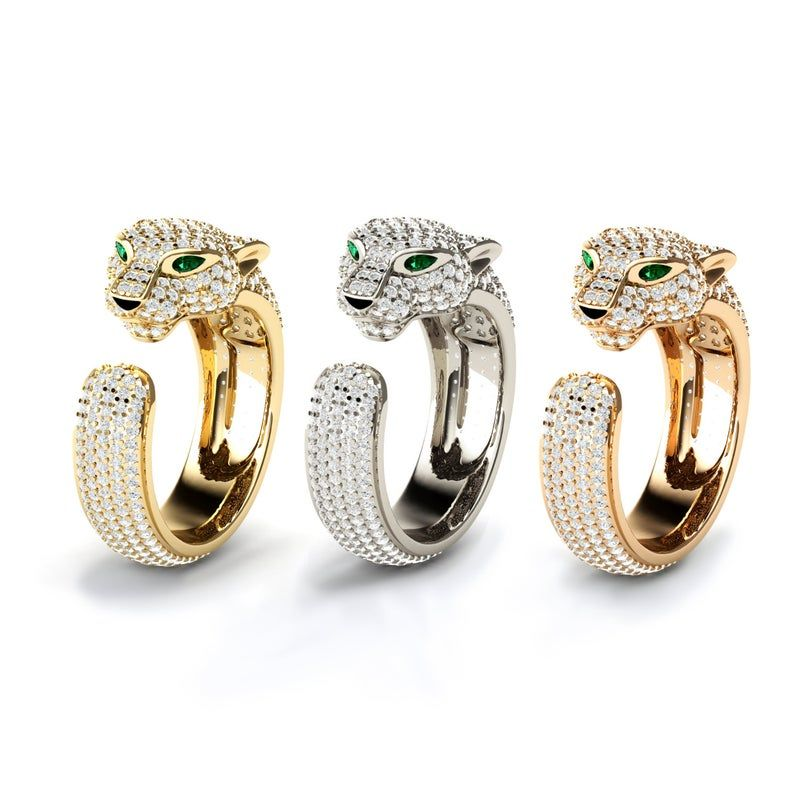 Diamond Pave Cat Ring Lion Ring Panther Jewelry Jaguar Ring Statement Ring For Women Leopard Ring Panther Ring Diamond Panther Ring