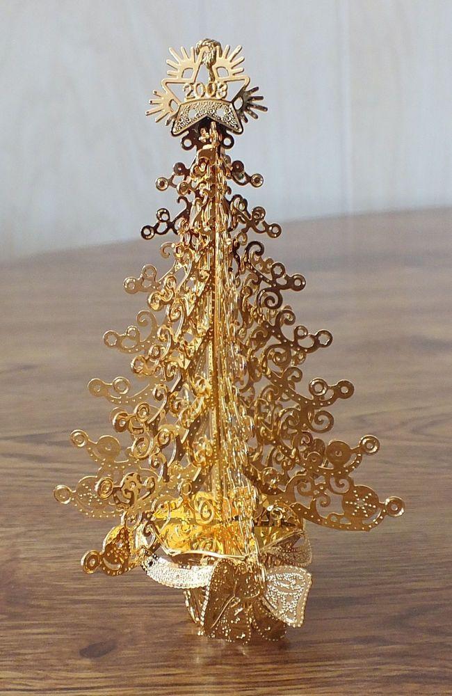 Nice Christmas Trees danbury mint gold christmas ornament - 2003 o' christmas tree