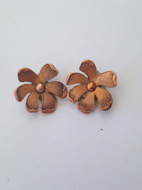 Vintage Copper Earrings Clip On
