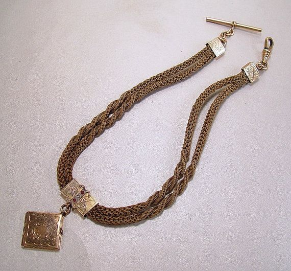 648d78055a38b Antique Victorian Woven Hair Watch Chain Necklace Locket Mourning ...