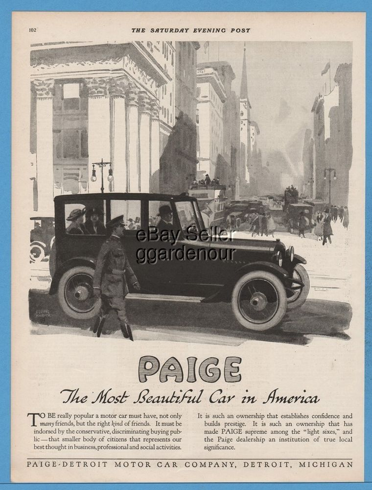 1918 Paige Detroit Motor Car Co Most Beautiful In America George