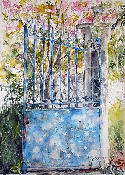 Le Portail Bleu Peinture Fleurs Comment Peindre Aquarelle