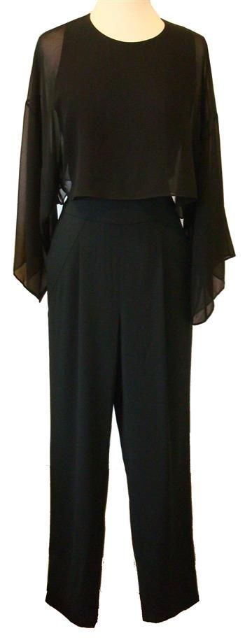 """BCBG MaxAzria """"Zoee"""" Black Jumpsuit With Chiffon Flutter Sleeves"""