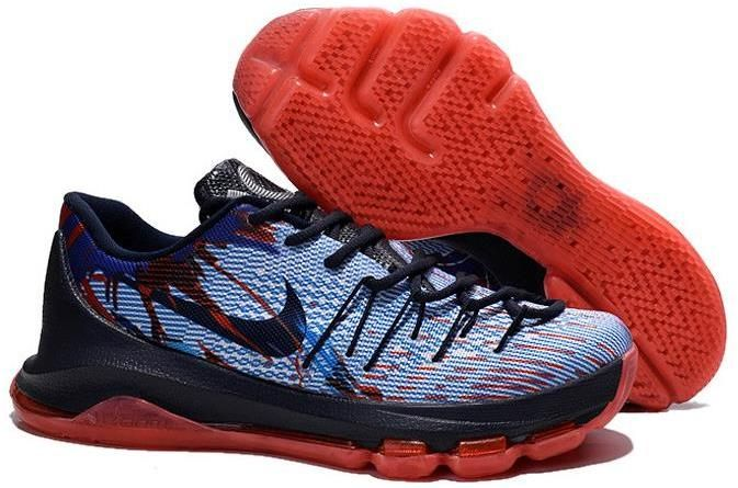 80b0456f9b33 Nike KD 8 Black Red Grey Blue Shoes