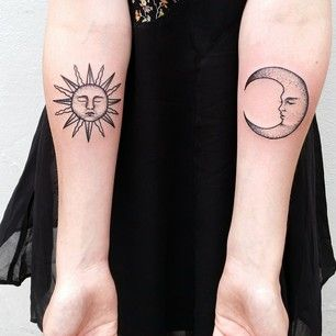 50 seriously impressive dotwork tattoos moon for Sun and moon matching tattoo