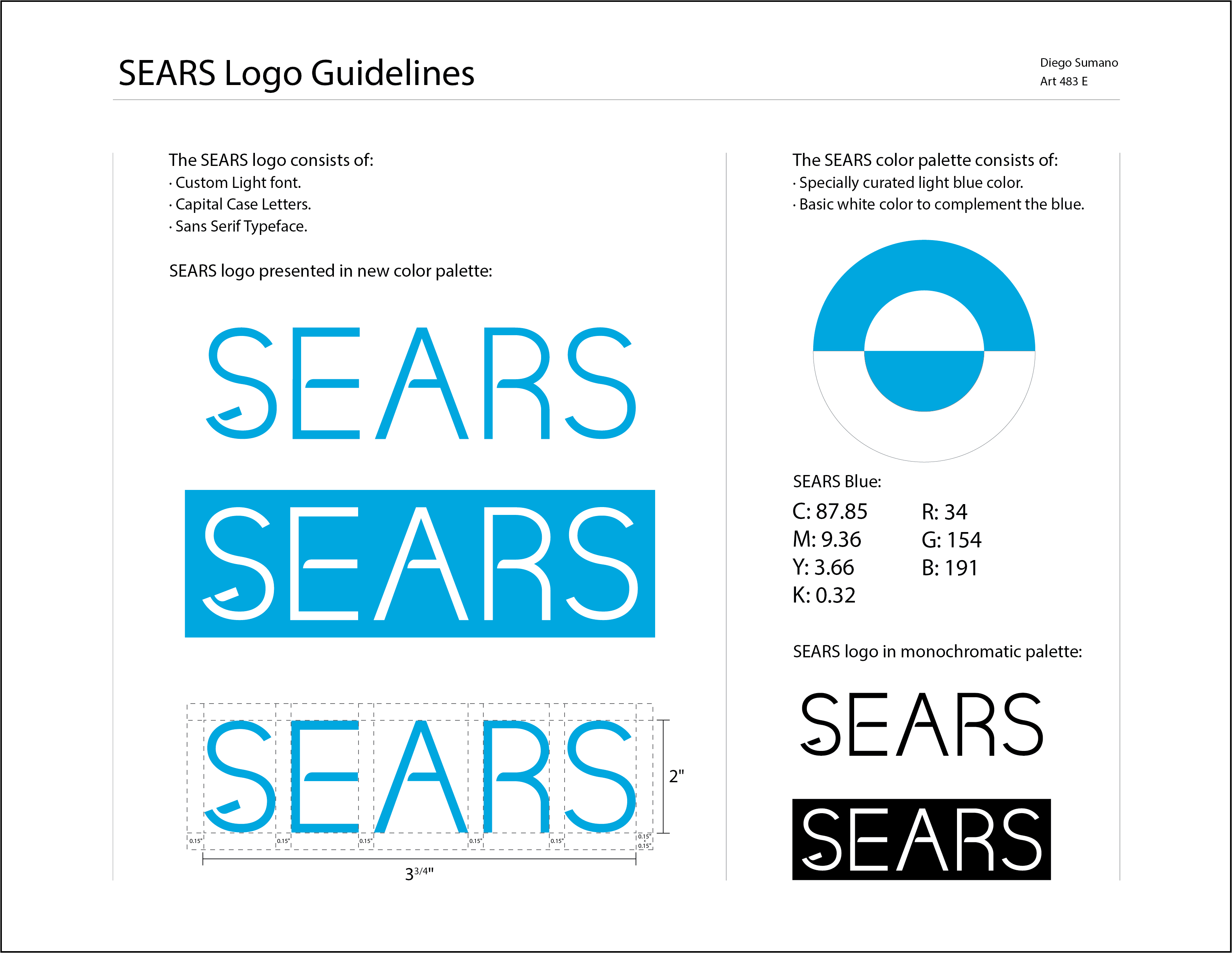 Sears Logo Style Guide Light Font Color Complement Light Blue Color