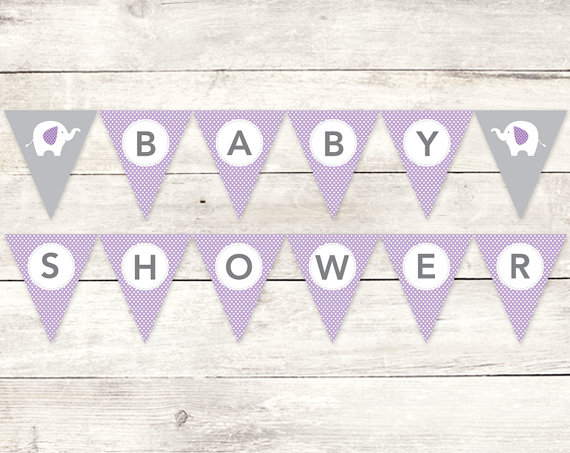 baby shower banner printable diy bunting banner elephant purple grey