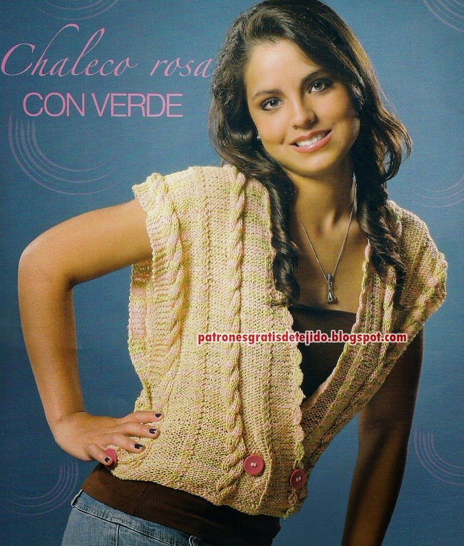 Patrones de chaleco de dama con trenzas dos agujas | Tejidos crochet ...