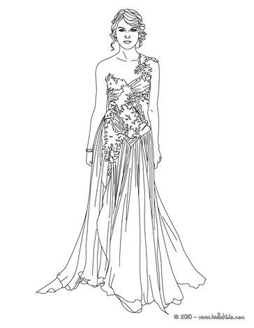 Taylor Swift luxurious dress coloring page. More Famous People ...