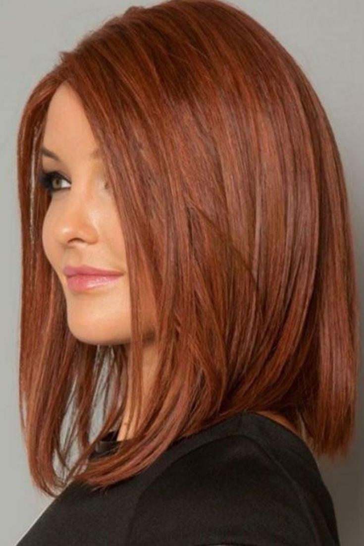 Carre Long Sur Cheveux Roux Coiffures Cheveux Roux Couleur Cheveux Tendance Coupe De Cheveux