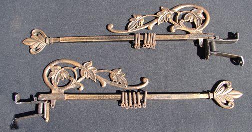 Antique Leaf Design Swing Arm Curtain Rods