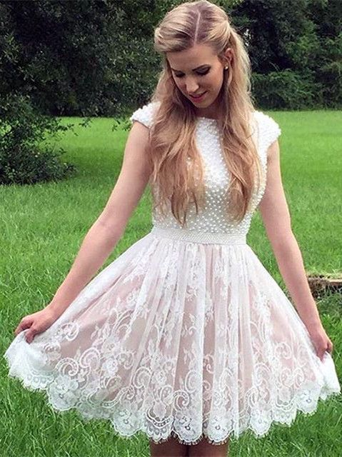 white lace homecoming dress, white homecoming dress with pearls, 2017 short homecoming dress, princess party dress