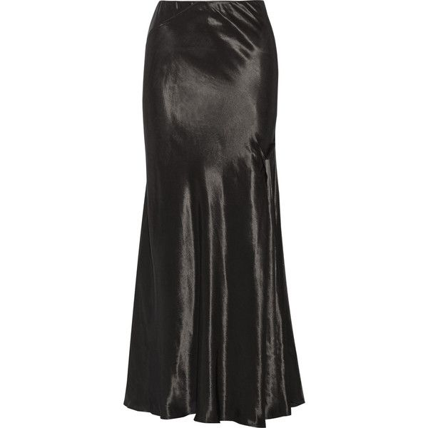 Lanvin Draped satin maxi skirt (66,015 INR) ❤ liked on Polyvore featuring skirts, long skirts, black, long satin skirt, maxi skirt, ankle length skirt, satin skirts and lanvin skirt