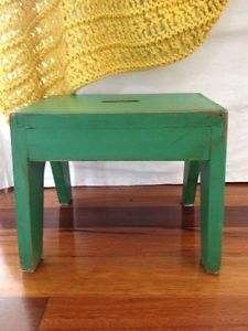 kids stools wooden   Green Vintage Wooden Step Stool Distressed Paint Handy FOR Children OR ...