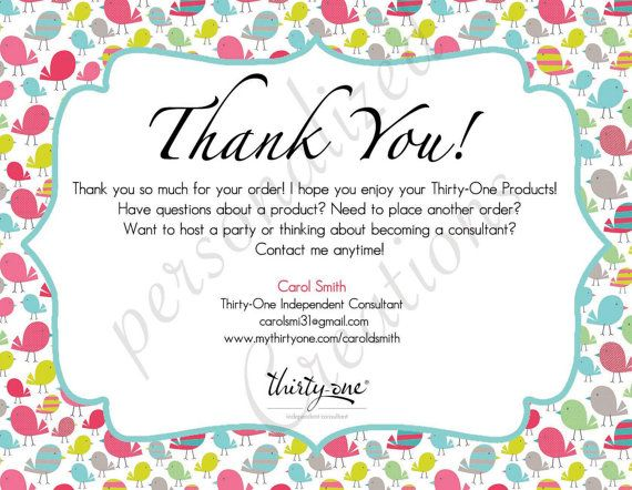 Personalized Thank You Cards made for ThirtyOne by Sweetcrystal135 – Thirty One Party Invites